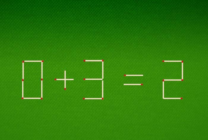 Нужно переложить 1 спичку так, чтобы равенство стало верным
